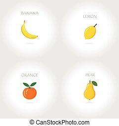 banana lemon orange pear set