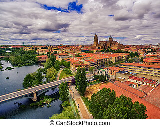 Salamanca, Spain: The old town and the New Cathedral,...