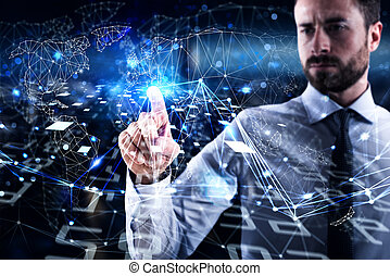 Man connecting to global world. Concept of interconnection,...