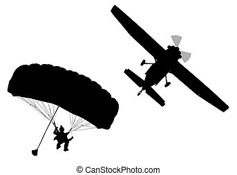 Bottom profile silhouette of sky diver with open parachute and airplane