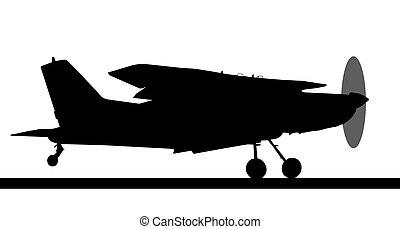 Side profile silhouette of landing X328 Atlas Angel Turbine...