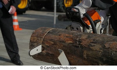 Chainsaw to cut firewood. Close-up professional chainsaw blade cutting log of wood