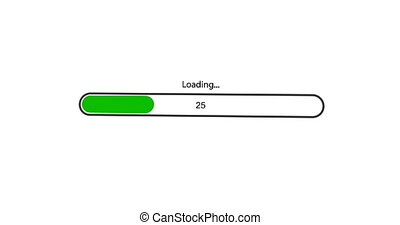 animation - modern green rotation loading bar on white background. Footage with alpha matte.
