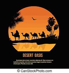 Desert oasis theme poster design, vector illustration