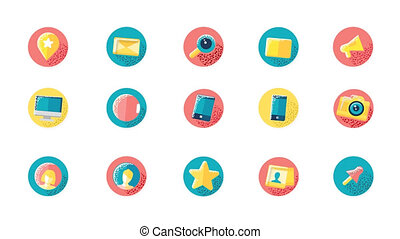 Social Media Icons Set With Alpha Channel - Flat icons of...