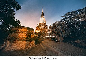 Ancient ruined pagoda at Wat Yai Chai Mongkol in Ayutthaya...