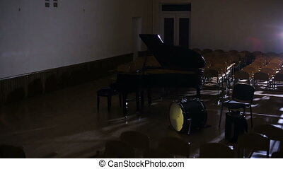 Lights on and musicians come to the musical instruments HD