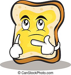Thinking face bread character cartoon