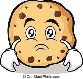 Sad sweet cookies character cartoon vector illustration