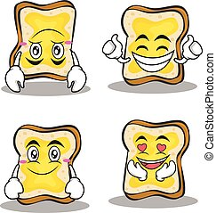 Collection set bread character cartoon
