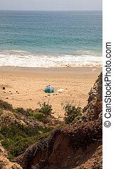 Tent at the farthest south end of Crystal Cove beach,...