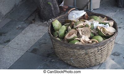 Mouse run to eat in basket with coconut waste. - Mouse run...