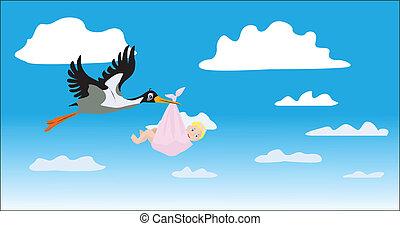 The stork bears the girl