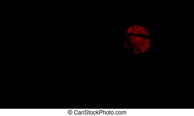 Red Moon On Cloudy Night - Red moon in the night sky