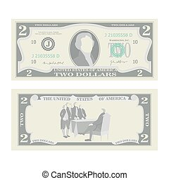 2 Dollars Banknote Vector. Cartoon US Currency. Two Sides Of...