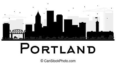 Portland City skyline black and white silhouette.