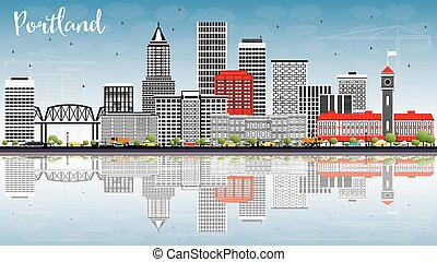 Portland Skyline with Gray Buildings, Blue Sky and Reflections.