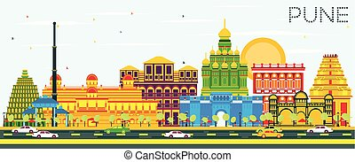 Pune Skyline with Color Buildings and Blue Sky. Vector...