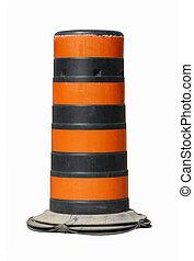 black and orange construction pylon isolated on white...