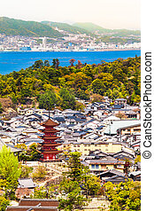 Miyajima Village Overview - View from hill of Miyajima...