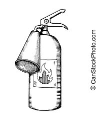 Fire extinguisher engraving vector illustration