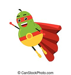 Cute cartoon smiling pear superhero in mask and red cape,...