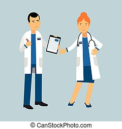 Two doctors characters in a white coats standing and...