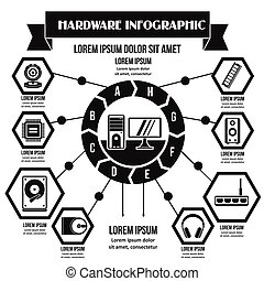 Hardware infographic concept, simple style - Hardware...