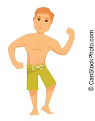 Man showing muscles - Vector illustration of shirtless man...