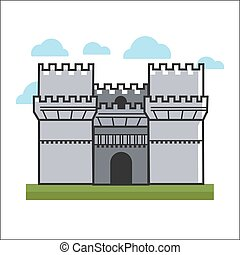 Big castle on grass - Vector illustration of big gray...
