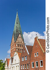 Skyline of Luneburg with the tower of the St. Johannis...