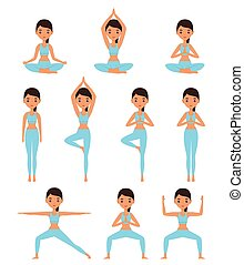 Woman standing in different yoga poses. Vector illustration.