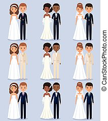 Bride and groom animated characters. Vector illustration.