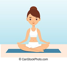 Female character sitting in lotus yoga pose. Vector.