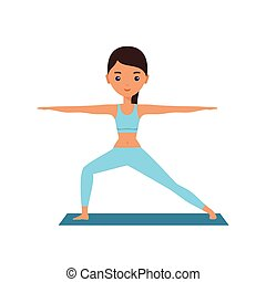 Woman standing in yoga pose Warrior. Vector illustration. -...