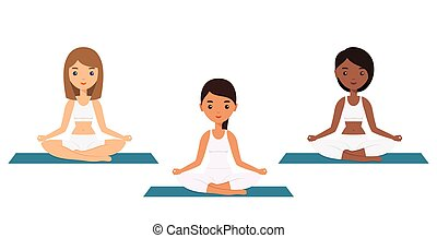 Female characters sitting in lotus yoga pose. Vector.