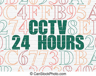 Privacy concept: CCTV 24 hours on wall background - Privacy...