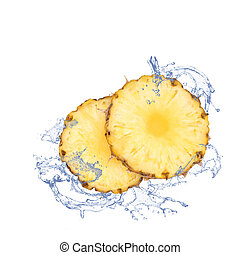 Fresh pineapple slices with water splash, isolated on white....