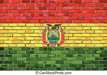Flag of Bolivia on a brick wall