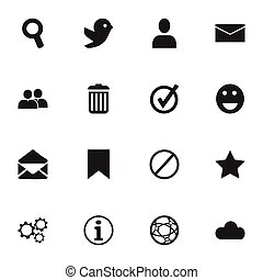 Set Of 16 Editable Internet Icons. Includes Symbols Such As Mail, Faq, Network And More. Can Be Used For Web, Mobile, UI And Infographic Design.