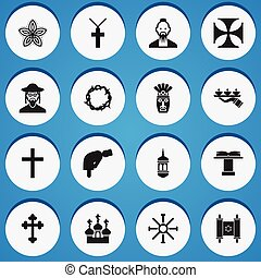 Set Of 16 Editable Dyne Icons. Includes Symbols Such As...