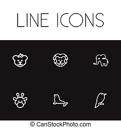 Set Of 6 Editable Zoo Icons. Includes Symbols Such As...