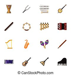 Set Of 16 Editable Melody Icons. Includes Symbols Such As...