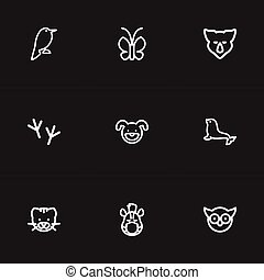 Set Of 9 Editable Animal Icons. Includes Symbols Such As...