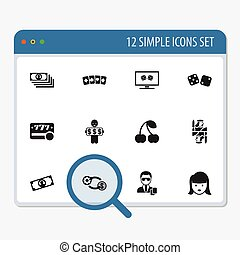 Set Of 12 Editable Gambling Icons. Includes Symbols Such As...