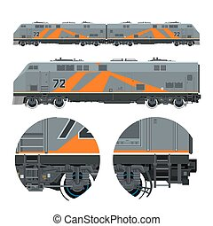 Orange Locomotive ,Rail Transportation