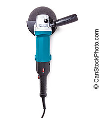 Angle grinder isolated on white background. - Top view of...