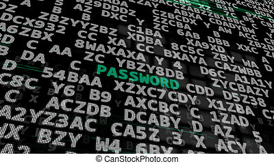 Green Word -Password- on a Black