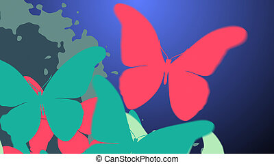 Amazing colorful background with butterflies