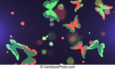 Colorful butterflies flock on a dark background